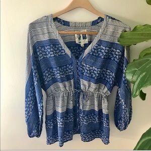 Anthropologie 100% Silk Blue & White Button Blouse